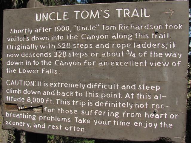 Waarschuwing bij het begin van Uncle Tom's Trail